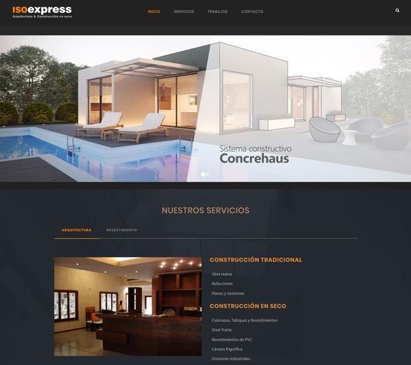 IsoExpress Diseño de página web Construcción